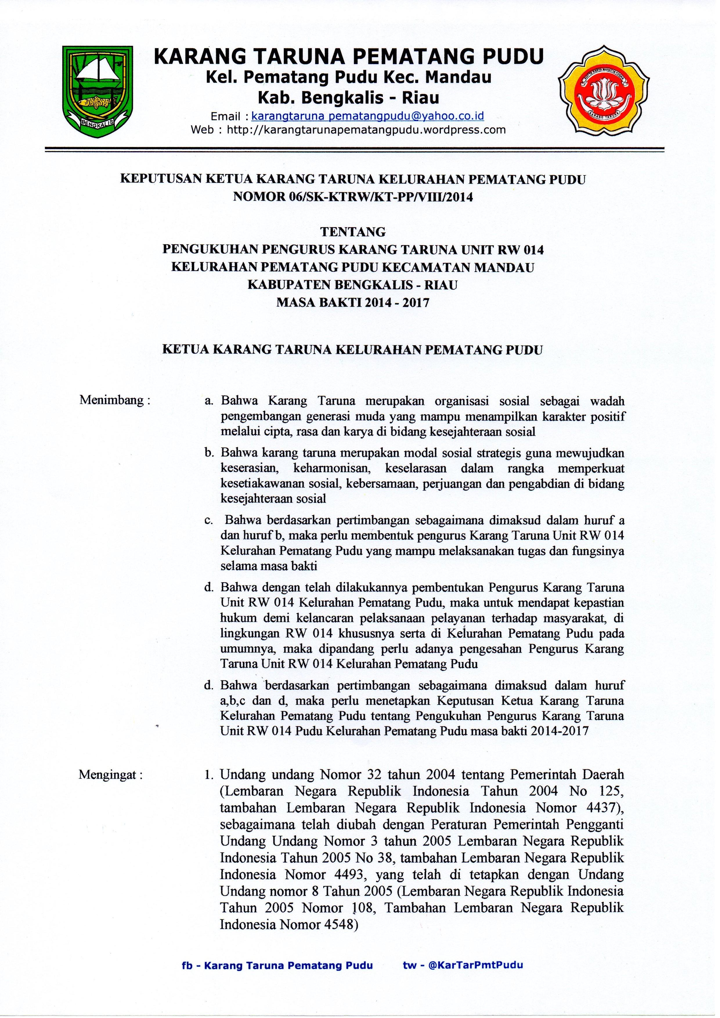Sk Pengukuhan Karang Taruna Unit Rw 014 Kel Pematang Pudu Karang